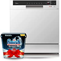 Midea WQP83802F 8 Place Portable Dishwasher(Silver), 1 Year Warranty With Free Finish Quantum Ultimate Dishwasher…