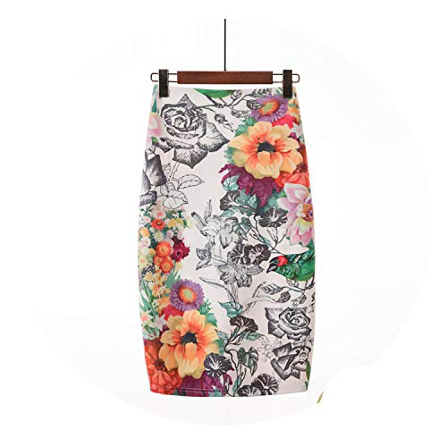 - Pencil Skirt Women High Waist Green Skirts Vintage Elegant Bodycon Floral Print Midi Skirt Cyan