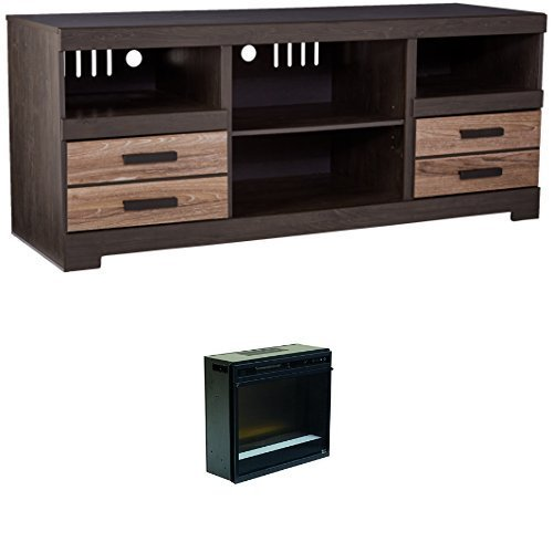 Ashley Furniture Signature Design - Harlinton Two-Tone TV Stand with Glass Fireplace Insert - Warm ()