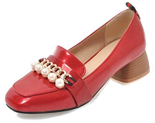 Perles Mode Bout Aisun des Femme Loisir Rouge Escarpins Ornement Etudiante 4cm Carré aII5wq