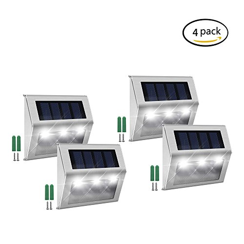 Solar Step Lights,FAMI Solar Lights Outdoor,Solar Led Lights,Solar Deck Lights Waterproof 3 LED 30LM for Stairs Patio Deck Yard Garden Outsides Path Fence Post(4 Pack)