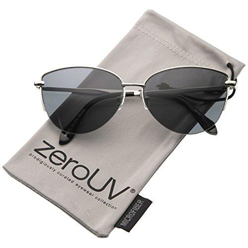 Modern Fashion Oval Semi-Rimless Metal Wire Frame Cat Eye Sunglasses 63mm (Silver/Smoke)