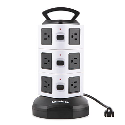 Electric Power Strip - Lanshion 12 Outlet Plugs with 9.8Ft Cord Wire Extension - Surge Protector Universal Socket Charging Station for PC, Laptops & Mobile Devices Office