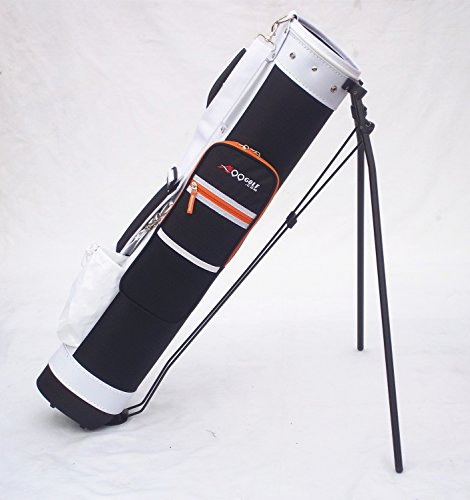 C13 Adult Golf Range Sunday Pencil Carry Bag Removable Top Cover w. Stand (Black/ White)