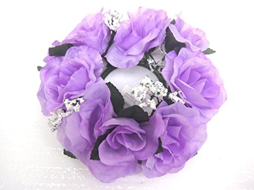 - 3 Candle Rings Roses Center Pieces Artificial Silk Flowers 4005 LAVENDER