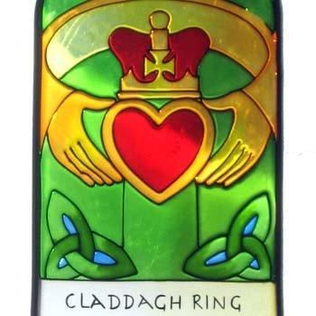 Irish Claddagh Ring Suncatcher - Claddagh Ring Gothic Stained Glass window hanging. Irish gift shipped from Ireland.