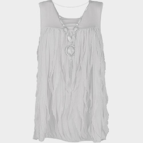 Miss Trendy Women's Plus Fab Frilled Sleeveless Vest Top Uk Size 14 White