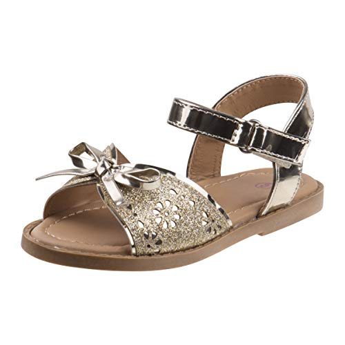 Rugged Bear Girls Laser Cut Glitter Sandals with Adorable Bow Accent, Gold, Size 10 M US Toddler -