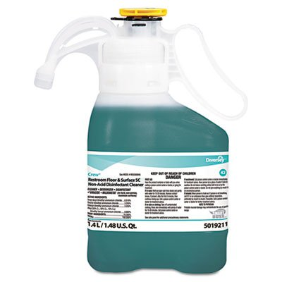 ** Crew Restroom Floor & Surface Non-Acid Disinfectant Cleaner, Two 1.4L Bottles -