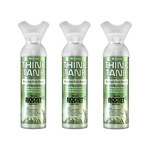 Boost Oxygen Think Tank Natural Portable Sport Outdoor Exercise Therapy 10 Liter Pure Canned Oxygen, Organic Rosemary (3…