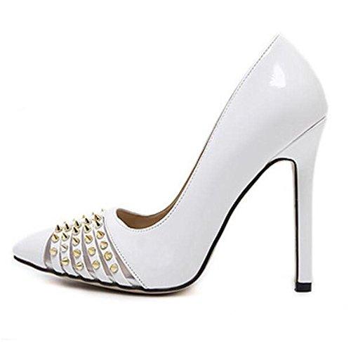 Pointe Toe Court Chaussures Heavy Metal Sharp Rivets Mince Bouche Mince Avec Talons Basse Pour Aider Simple Chaussures , white , 37
