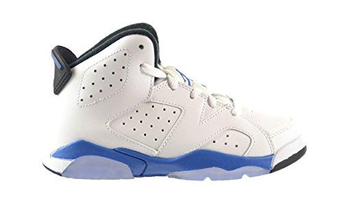 Jordan 6 Retro BP Little Kids Shoes White/Sport Blue-Black 384666-107 (13 M US)