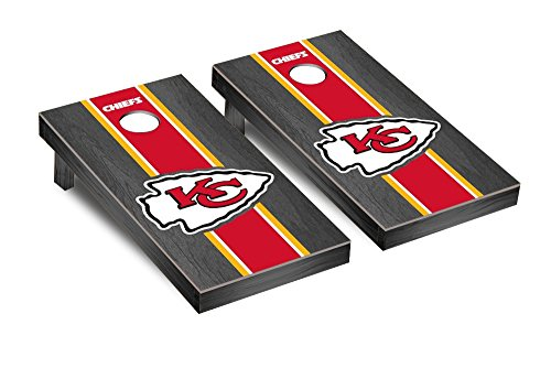 Victory Tailgate Kansas City Chiefs NFL Football Regulation Cornhole Game Set Onyx Stained Stripe Version 2