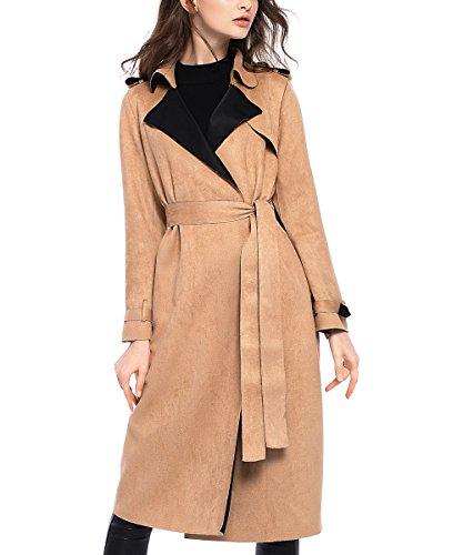 Tuliplazza Faux Suede Office Work Long Trench Coat Fur Wrap Jacket Outwear Parka (Suede Winter Coats For Women)