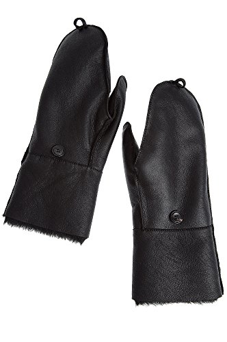 Women's Fingerless Sheepskin Gloves with Mitten Flap, SILKY BLACK, Size MEDIUM M (6.5-7) (Medium Flap)