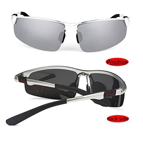 plata con hombre sol o para para Gafas pesca conducir para polarizadas de estuche wT4ZSx7qp