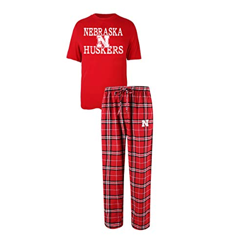 Concepts Sport Men's NCAA Duo Flannel Pajamas and T-Shirt Sleep Set-Nebraska ()