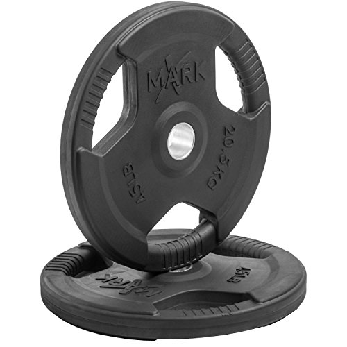 XMark Fitness Premium Quality Rubber Coated Tri-grip Olympic Plate Weights - 1 Pair of 45 lb. Plates