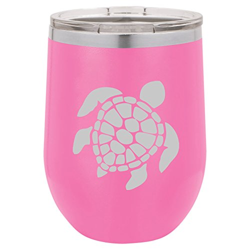 12 oz Double Wall Vacuum Insulated Stainless Steel Stemless Wine Tumbler Glass Coffee Travel Mug With Lid Sea Turtle (Hot-Pink)