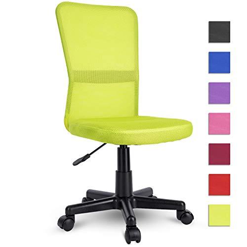 TRESKO Silla de Oficina Escritorio giratoria, Disponible en 7 Variantes de Colores, con Ruedas para Suelos Duros, Regulable en Altura de Forma Continua, Respaldo ergonomico (Verde Claro)