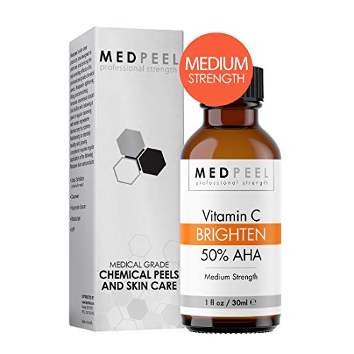 MedPeel 50% AHA & Vitamin C Brightening Chemical Peel, Medium Strength Professional & Medical Grade Chemical Face Peel at Home, Address Fine Lines, Wrinkles, Hormonal Acne for all Skin Types 1oz/30ml