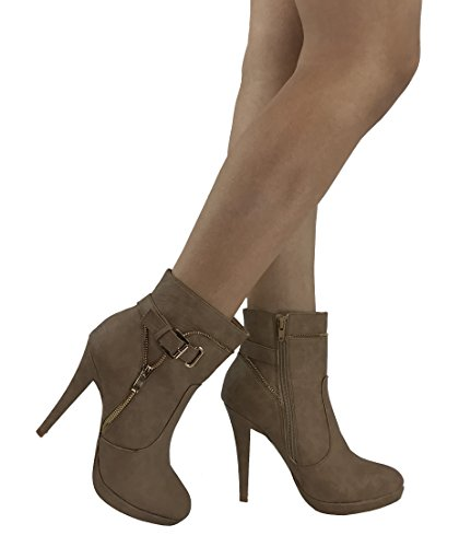 Over Ankle Boot Fashion Heel Bootie MODA Stiletto Moto Taupe Edith High Platform SPIRIT The nYF08vqw