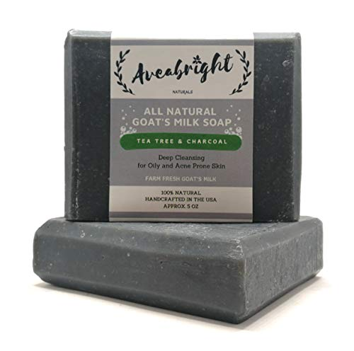 Activated Charcoal Tea Tree Oil Soap Bar - All Natural Goat Milk Charcoal Bar Soap with Tea Tree Essential Oil. Handmade in USA. (2 Large 5oz Bars) ()