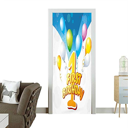 Decorative Door Decal First Party Theme Balloons with Abstract Blue Toned Image Blue and Light Stick The Picture on The doorW23 x H70 INCH -