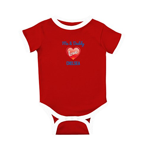 Me and Daddy Love Chelsea Cotton Short Sleeve Crewneck Unisex Baby Soccer Bodysuit Sports Jersey - Red, 6 Months