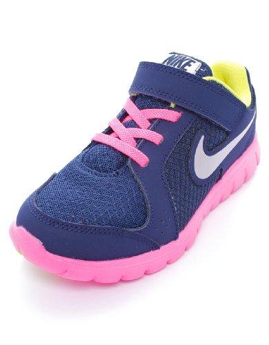 Nike Flex Experience (Psv), Zapatillas de Deporte para Niñas Azul / Plateado / Rosa (Mid Nvy / Mtllc Slvr-Pnk Glw-Whi)