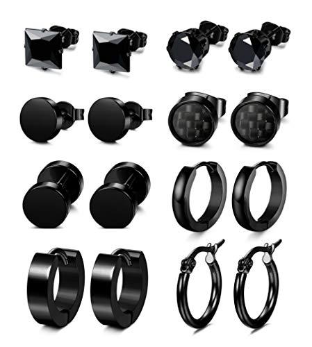 - Yadoca 8 Pairs Stainless Steel Earrings for Women Men Barbell Hoop Stud Earrings Tunnel Plug Ear Piercing (Black)