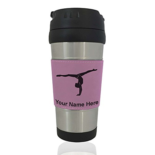 Gymnastics Mug (Travel Mug - Gymnast Girl - Personalized Engraving Included (Pink))