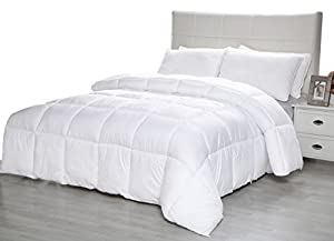 Equinox Comforter – (350 GSM) White Down Alternative Comforter (Queen) - Hypoallergenic, Siliconized Fiberfill, Box Stitched Comforter Set Queen, Blanket Queen Size – White Duvet Cover Queen