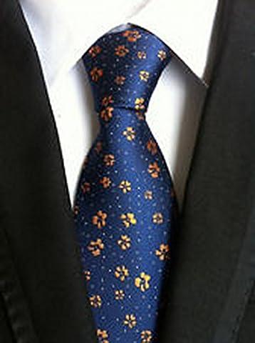 Jacob AleX #47232 Costume Floral Blue Orange Flowers JACQUARD WOVEN Necktie