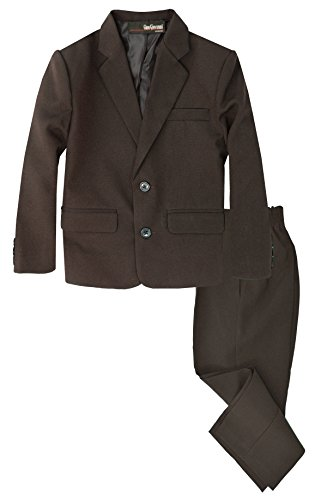 G218 Boys 2 Piece Suit Set Toddler to Teen (10, Brown)