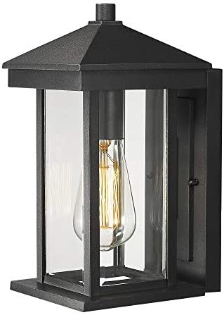 Zeyu 1-Light Outdoor Wall Light for House, Porch Wall Lantern Sconce, Black Finish with Clear Glass, 0301-WD-BK