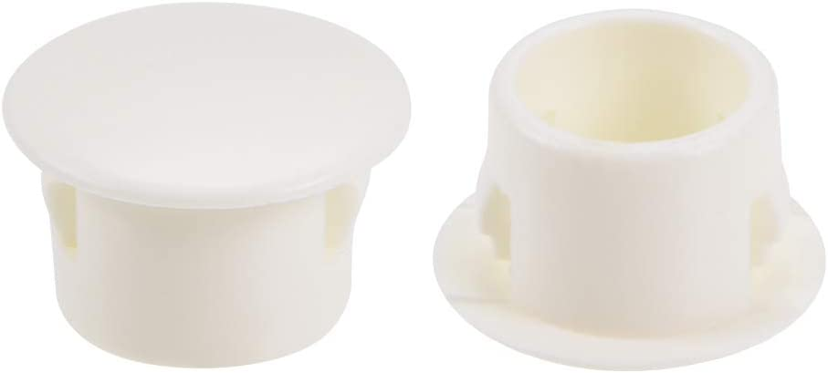 uxcell Hole Plugs Beige Plastic 13mm Snap in Locking Hole Tube(12.5-13mm) Steel Furniture Fencing Post Pipe Insert End Caps for Fitness Equipment 25 Pcs