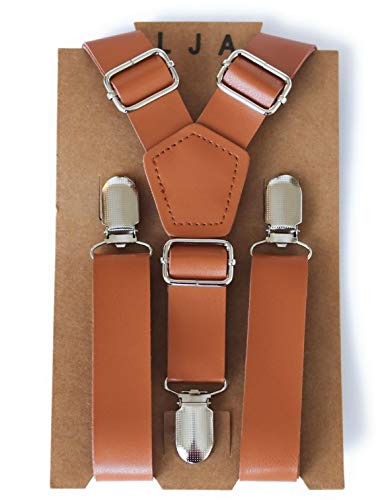 (Suspenders for Kids - Adjustable Leather Suspenders for Kids Ages 2mos to 17 Years - By London Jae Apparel (Caramel w/Silver Clips, Small))