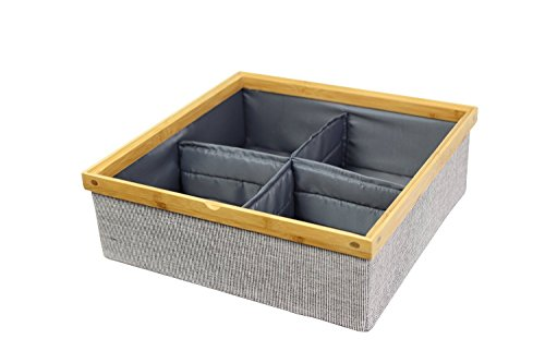 Twill Stackable Closet Tray 4-Dividers Drawer and Closet Storage (Fabric Stack)