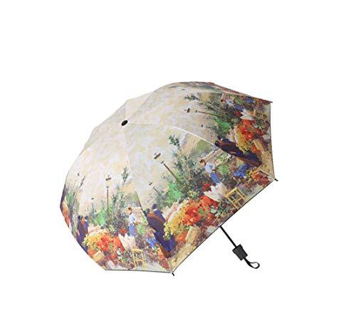 (Oil Painting Folding Umbrella Sun Umbrella Innovative Ultralight Pocket Umbrella Folding Wind Resistant Umbrella,Multi)