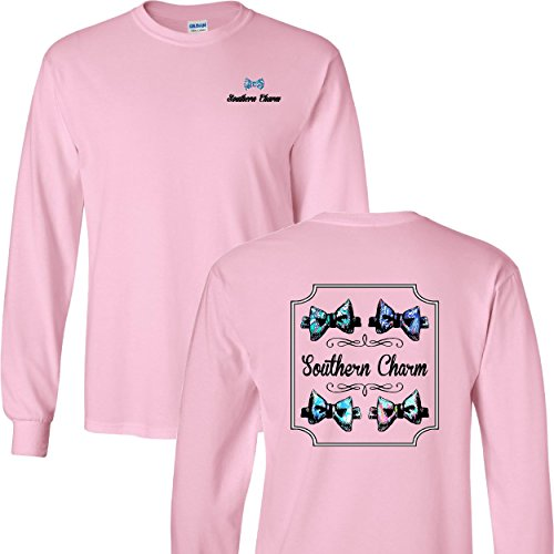 Southern Charm Preppy Bow Tie on a Light Pink Long Sleeve T Shirt - -