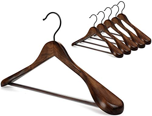TOPIA HANGER Set of 6 Beautiful Coat Suit Jacket Wood Wooden Hangers, Premium Retro Finish with Extra-Wide Shoulder- 360° Black Hooks & Anti-Slip Bar CT02A