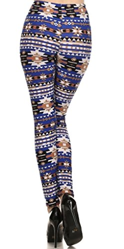 Womens Plus Blue Printed Lined Leggings 41iww0wIOoL