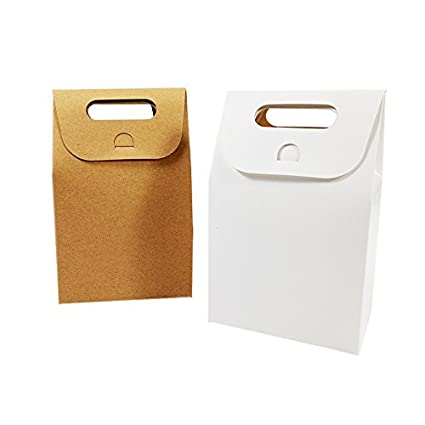 50 unids/lote caja de embalaje de postres boda Brown & White ...