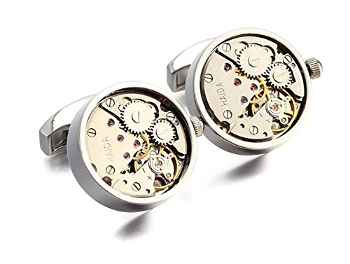 Apex Skeleton Cufflinks | Features Gears, Levers, and Jewels to Provide the Appearance of an Open Faced Mechanial Watch | Forged out of Premium Grade Stainless-Steel (Silver) (Watch Cufflinks)