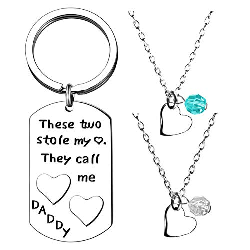 MA&SN 3 Pieces Necklace Key Chain These Two Stole My Heart Call me Daddy Gift for Men Father for Dad for Papa