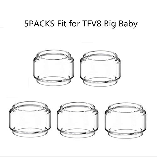 DEKPRO 5PCS Bulb Tube for TFV8 Big Baby Glass Replacement Tanks Clear Rainbow for Home Craft Hobby Use(Clear)