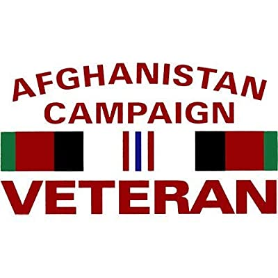 """Afghanistan Campaign Veteran with Campaign Ribbon 5.5""""x3"""" Decal: Automotive"""