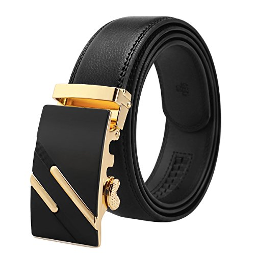 Gold Genuine Belt - Men's Genuine Leather Ratchet Belt Black Dress Belt with Automatic Buckle 1 3/8 Wide Gift Box