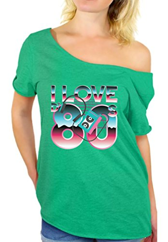Awkward Styles I Love The 80's Off The Shoulder Tops Women's Disco Vintage Shirt Heatherkelly L -